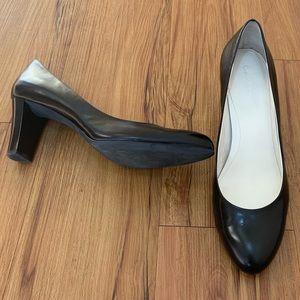Calvin Klein Black Round Toe Leather Heels